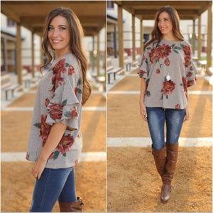 Gray Floral Ruffle Sleeve Tunic